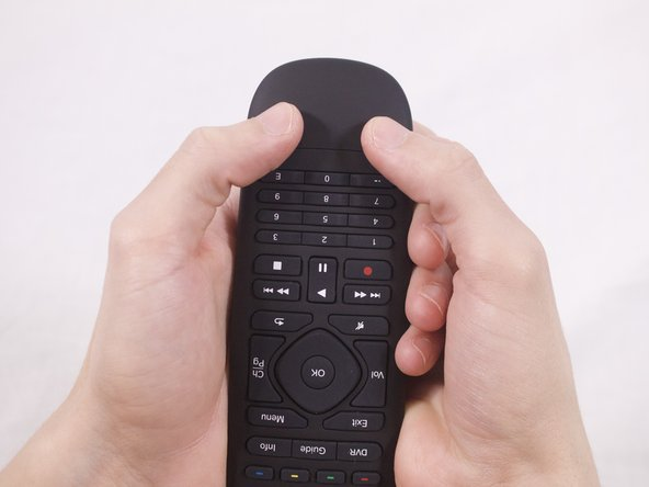 Hold the remote with the Logitech label toward you.