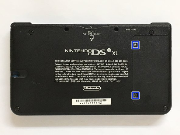Remove the two screws at the place of the battery under the Dsi Xl.