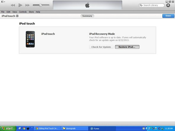 Next, open iTunes.  If it detects an iPod in Recovery Mode, you got DFU mode right.