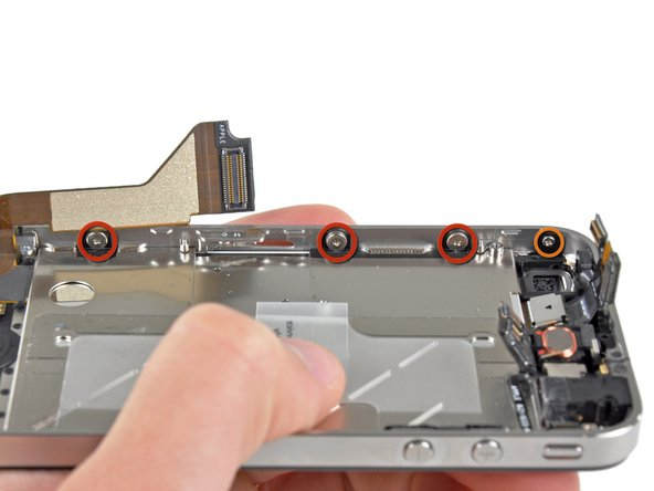 Remove the three large-headed 1.5 mm Phillips screws along the SIM card side of the iPhone.