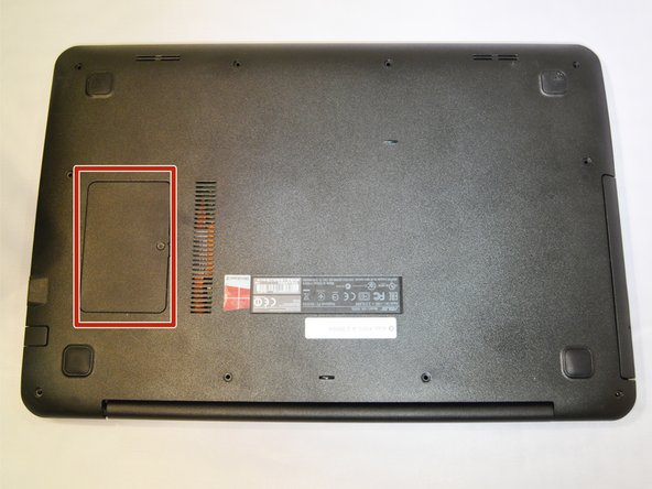 Image 1/1: The RAM is located under the square cover on the bottom of the laptop.