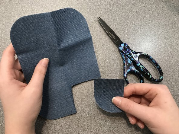 Measure the size of the hole and cut the appropriate amount of the  fabric needed.