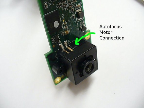 Autofocus motor connections can be removed by desoldering using desoldering braid where indicated.