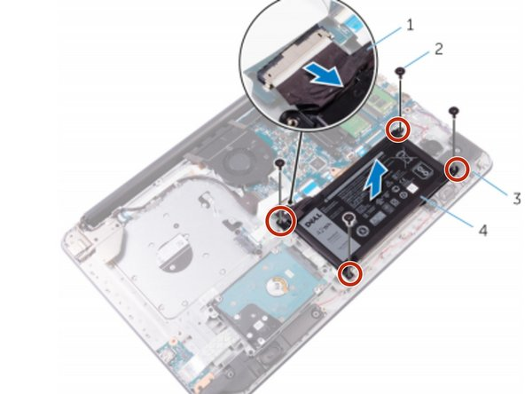 Replace the screws that secure the battery to the palm rest and keyboard assembly.