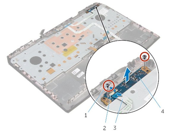 Replace the screws that secure the status-light board to the palm-rest assembly.