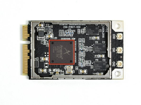 Image 2/2: At the heart of the Wi-Fi card is an Atheros AR9388-AL1A 802.11n wireless LAN chip.