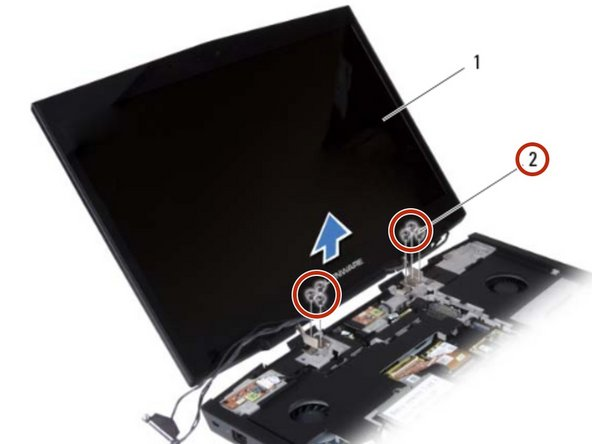 Remove the six screws that secure the display assembly to the computer  base.
