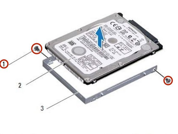 Remove the two screws that secure  the hard-drive bracket to the  hard drive.