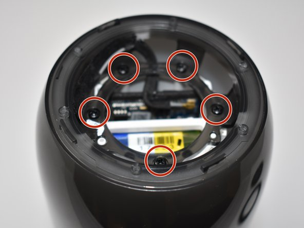 Remove the five 7mm screws on the inside of the JBL Pulse 3 with a Phillips #1 screwdriver.
