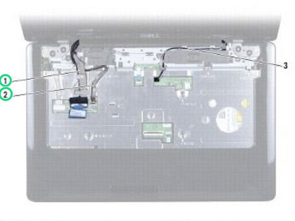 Disconnect the display cable and camera cable from the respective system board connectors and remove them from their routing guides.