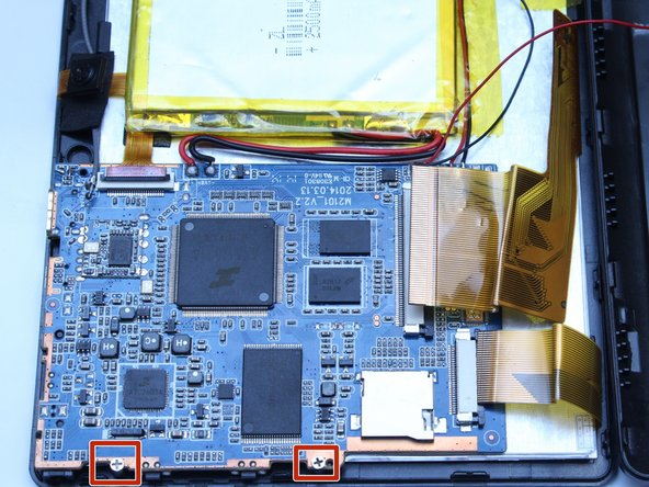 Use a Phillips screwdriver (PH00) to unscrew the two screws that connects the motherboard to the device