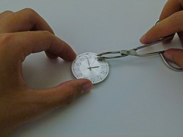 Carefully pick up and place the second hand in the center of the watch.