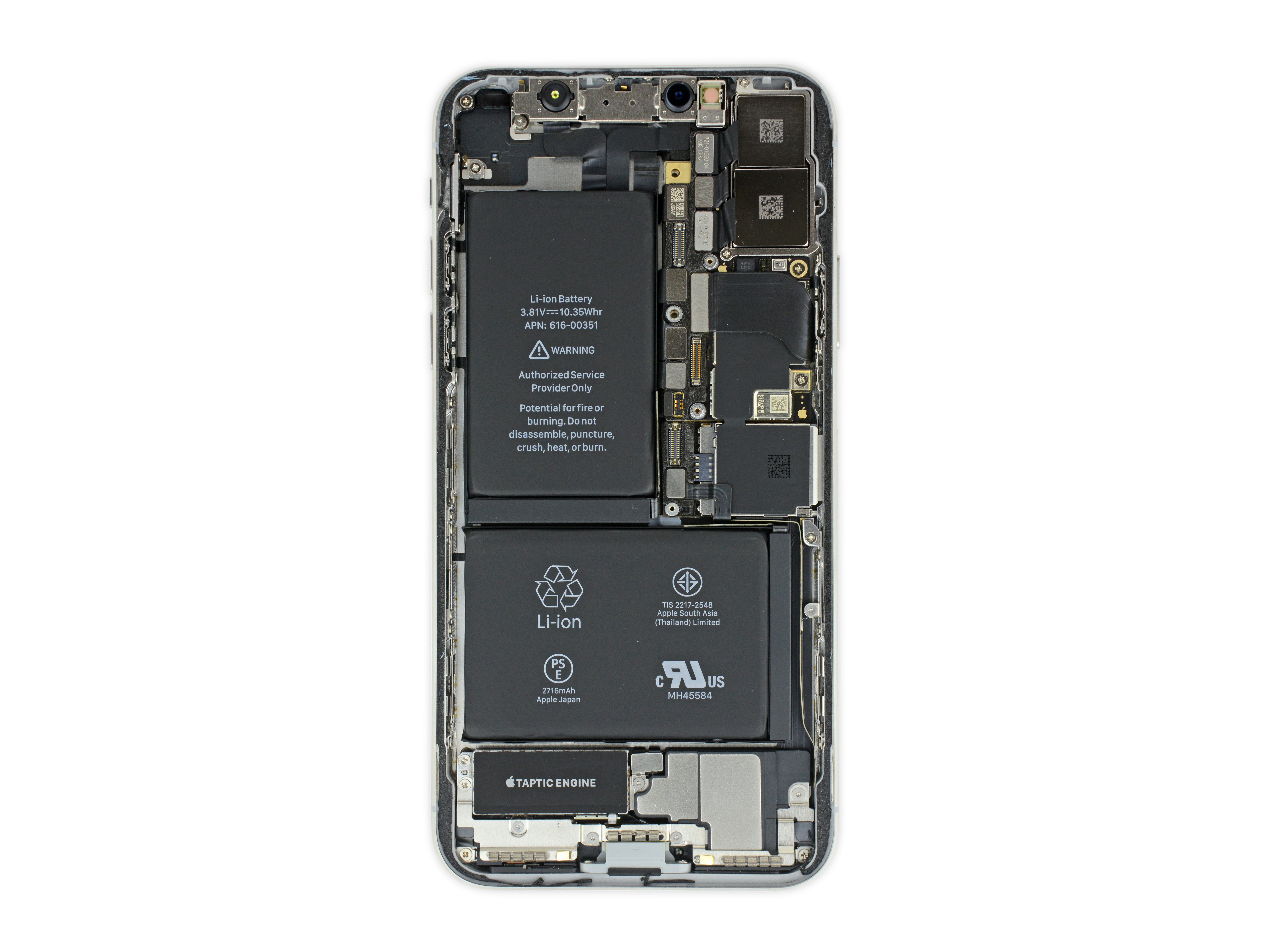 3 Things We Just Learned From The Iphone X Teardown Cnet Cell Phone Emergency Charger Pack Circuit Diagram Centre You Can See Some Pretty Sweet Ray Images At Ifixits Site Too Point Is By Making All Chips Fit Into Notch In That L Shaped Battery