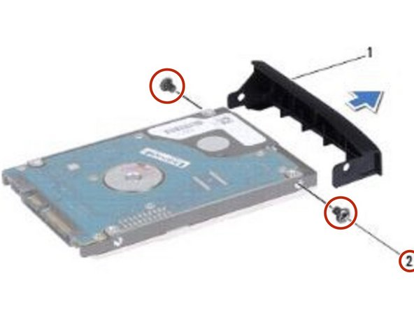 Remove the two screws that secure the hard drive bezel to the hard drive.