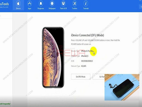 We can see on the interface of 3uTools that the phone has entered DFU mode. And the phone has been turned into iPhone 11 Pro Max. We can write firmware of iPhone 11 Pro Max to the phone.