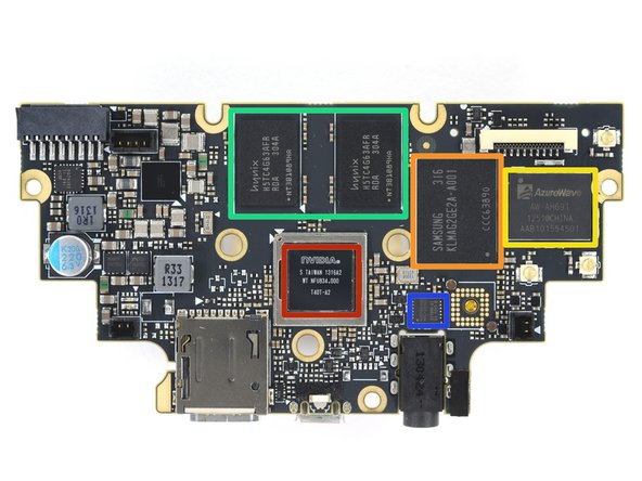 Image 1/2: With the motherboard finally free and de-shielded, we get a look at the notable players: