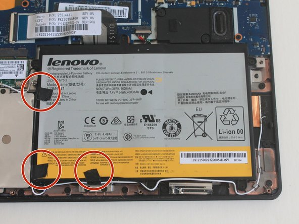 There may be tape around the edge of the battery to secure some wires. Use a pair of tweezers to remove the tape so that the wires are no longer attached to the battery.