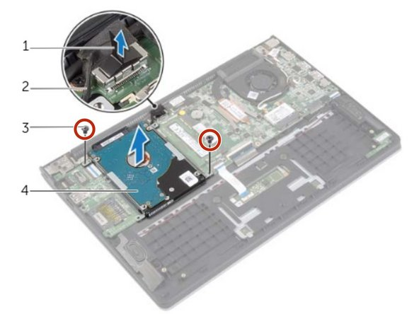 Replace the screws that secure the hard-drive assembly to the palm-rest assembly.