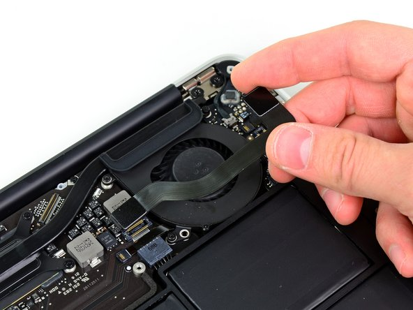Be sure to lift straight up on the connector as you disconnect it from its socket. The socket is very deep on the logic board and prying it from side to side may damage the logic board