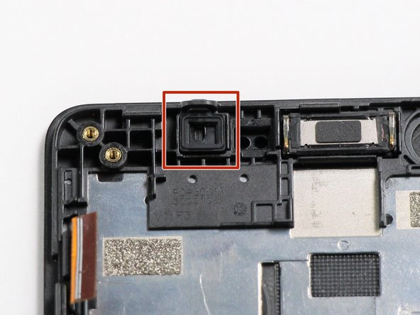 Use tweezers to pull out the rubber proximity sensor from the top left of the frame