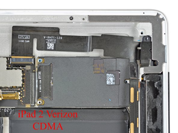Image 2/2: The microSIM slot is located in the upper left corner of the GSM iPad 2. The case is machined uniquely in this area on GSM models to accommodate the SIM ejector mechanism and the SIM tray.