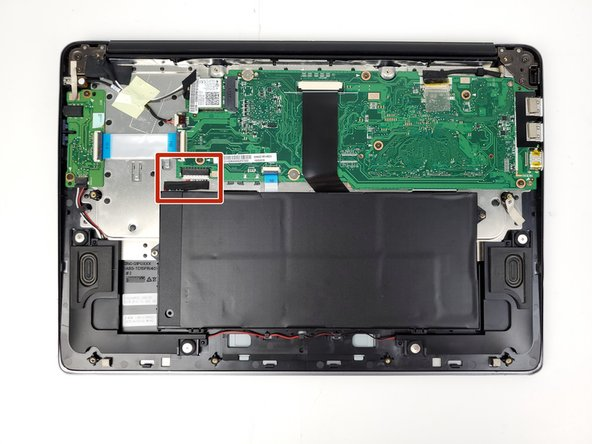 Use a spudger to disconnect the battery's connector from the motherboard. The connector should slide out toward the battery.