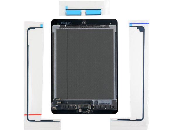 Lay out the replacement adhesive strips around the display assembly so that they correspond to the correct sides.
