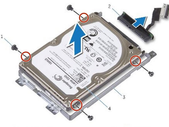 Align the screw holes on the hard drive-bracket with the screw holes on the hard drive.
