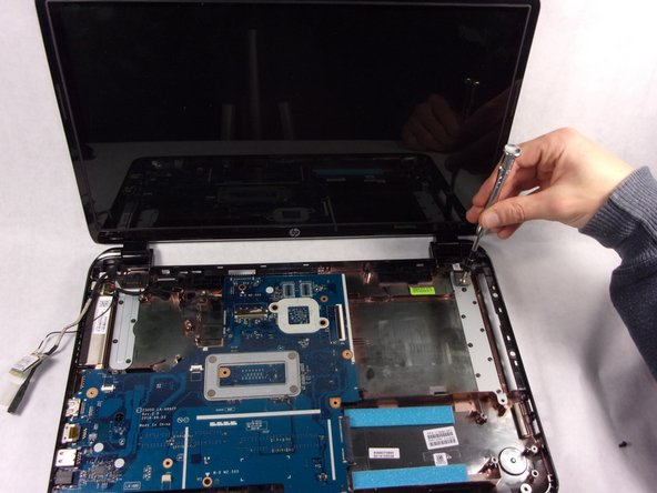 Since all of the screws are now removed, the screen will begin to fall off on its own.  make sure the screen is supported before removal.