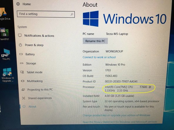 Image 2/3: The device manager now shows the updated CPU.