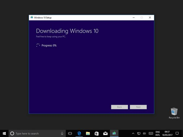 Now windows will download and verify the installation files.