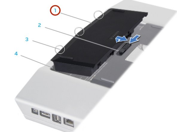 Slide the battery pack into the battery bay until the battery pack clicks into   place.