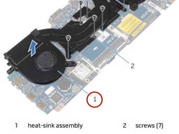 Align the screw holes on the NEW heat-sink assembly with the screw holes on the system board.