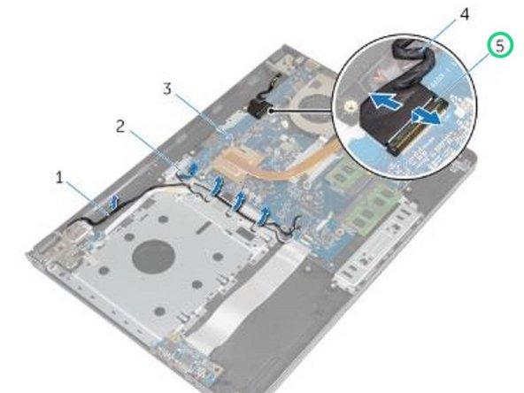 Levante el pestillo y desconecte el cable de la pantalla de la placa base.