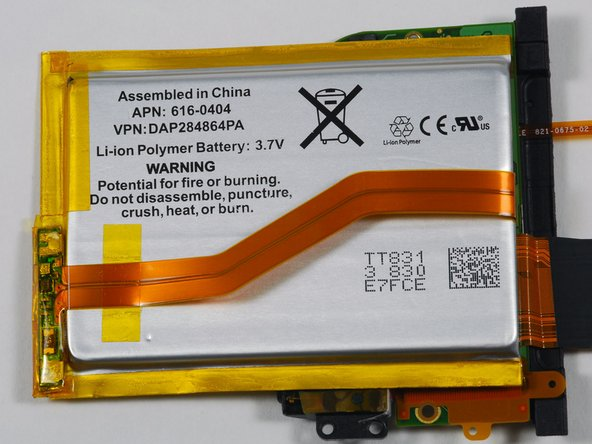 The battery. 3.7 V Lithium-ion polymer, as expected. Apple part number 616-0404. No word yet on the mAh rating.