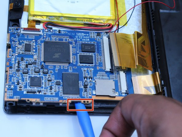 Using the flat side of the spudger, lift up the mother board to disconnect from the screen.