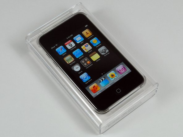 The new iPod Touch comes in a smaller, transparent plastic case.