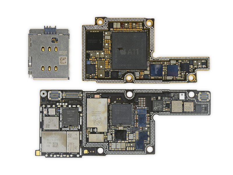 The iPhone X's nifty logic board.