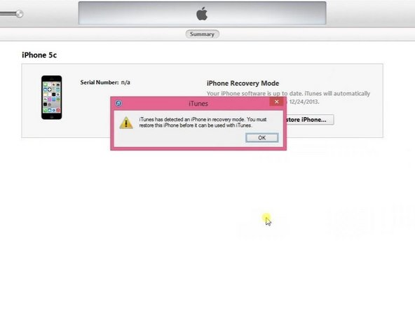 iTunes has detected an iPhone in recovery mode.
