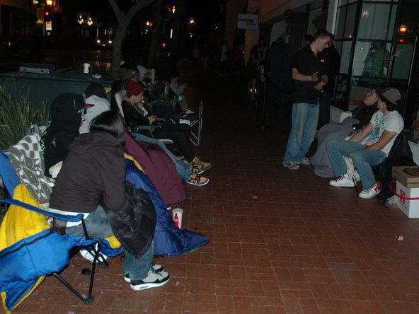 Image 3/3: Two blocks down the street at a local shoe store were 18 people stolidly entrenched in line for Kanye West's new [link|http://nikeairyeezys.com/|Air Yeazy] shoe. Some of them had been in line since '''Monday!'''