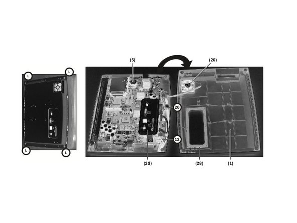 Place the Display Unit face down on an anti-static pad. Make sure that the release tabs are fully depressed.