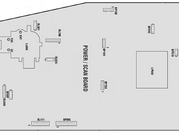 Image 1/3: Drawing of the connectors on the Power Board