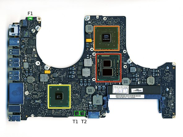 The picture shows where the relevant parts are placed on the logic board. F1, T1 and T2 are marked green. L1 is mounted on the MagSafe PCB and so not seen on the picture.