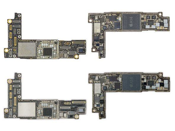 Let's check out these logic board sandwiches. For reference, the US version is on top in these images, EU below. (Don't read into it—that's just how the chips fell.)