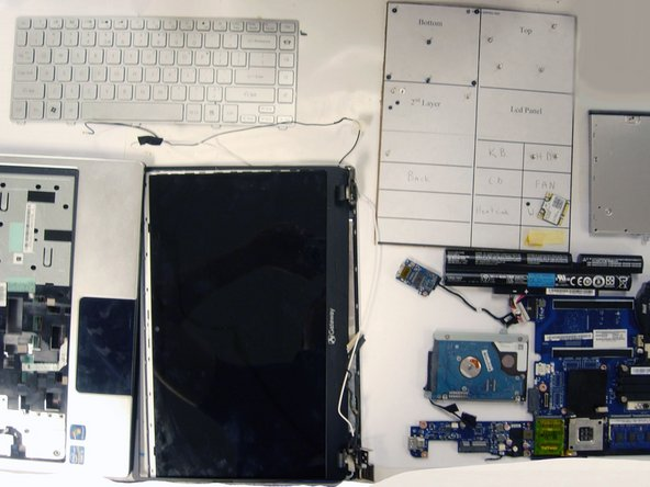 Here is the full tear-down of the laptop. There are a lot of parts to deal with, and unfortunately the image had to be cropped.