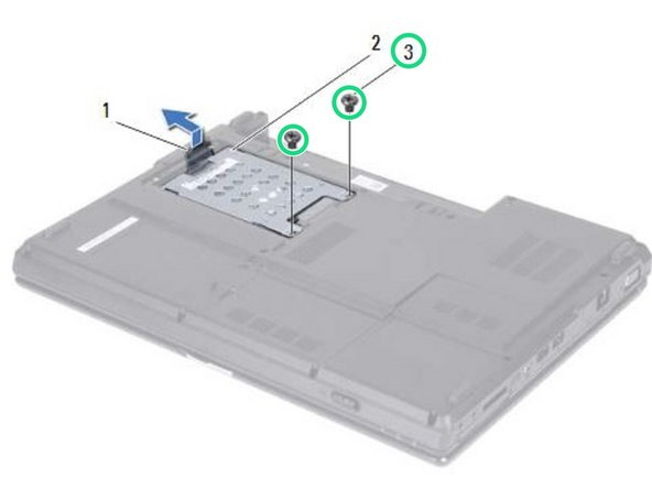 Remove the two screws that secure the hard-drive assembly to the computer base.