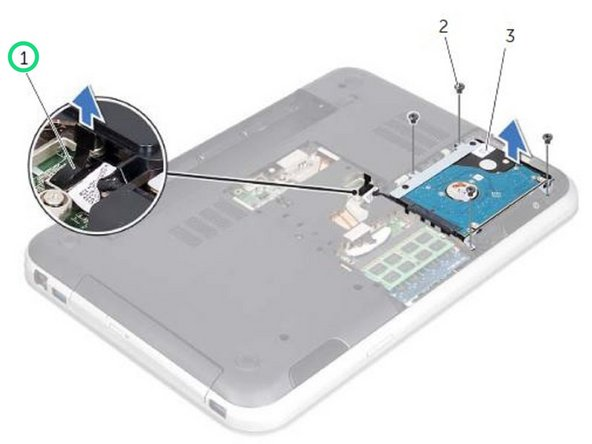 Make a note of the hard-drive cable routing and remove the cable from the routing guides.