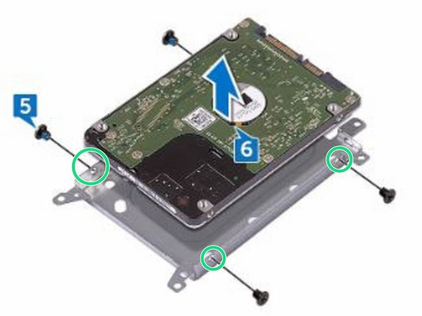Align the screw holes on the hard-drive bracket with the screw holes on the NEW hard drive.