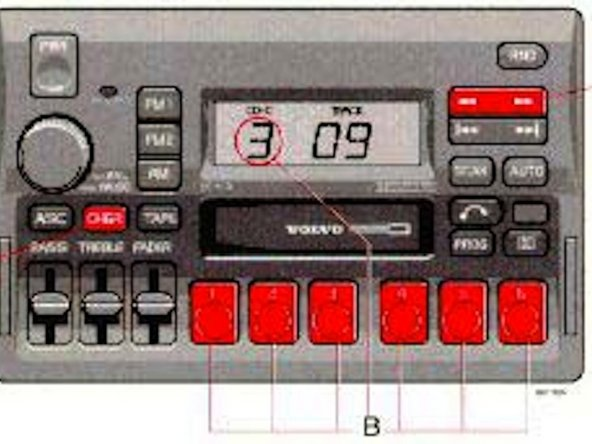 Image 2/2: Control the MP3 Player in the same manner as you would normally control the CD changer:  See Volvo SC-813 Users Guide Segment below