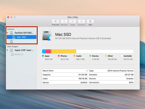 Image 1/1: Select the name of your Mac OS X Startup disk in the left column.